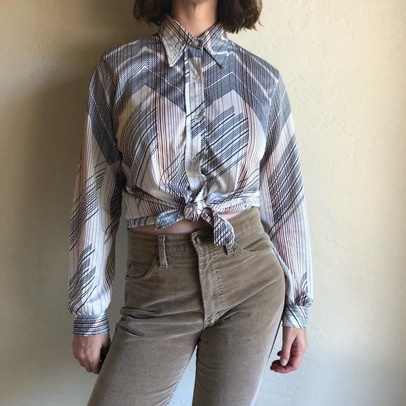 b3b64005e5a373 Vintage Tops | 70s Line Design Collared Button Up Shirt | Poshmark